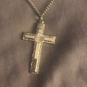 Silver-tone Cross and Chain